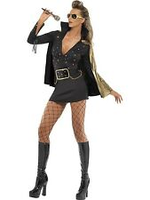 Adult Women's Black Elvis Presley Viva Las Vegas Fancy Dress Costume
