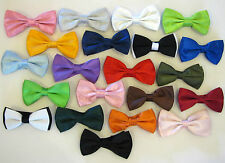MEN'S/BOY'S SHINY SATIN FINISH PRE-TIED BOW TIES IN VARIOUS COLOURS