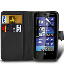 Leather Wallet Skin Case Cover, Retractable Pen & Film For Nokia Lumia 620