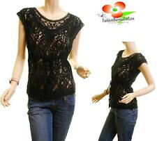 Vintage Black Gothic Sheer Lace Crochet Embroidered Victorian Blouse Shirt Top
