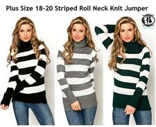 LADIES PLUS SIZE 18-20 OVERSIZE STRIPE KNIT JUMPER SWEATER CHUNKY TOP BLOUSE XXL