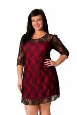 New Womens Sexy Black Lace Lined Dress 3/4 Lace Arms Nouvelle Plus Size 14-28