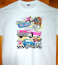 REWIND THE 50s T Shirt White Sz SM - 5XL  Drive In's, Car Hop's, Classic Car's