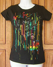 BILLABONG Blue Pink Yellow Foil Evolve Design For Humanity Black T Shirt Box34
