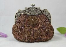 Dark Brown Royal Frame Beaded Florals Evening Purse 12 Colors