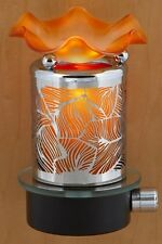 Plug In Nightlight Oil/Tart Electric Aroma Lamp Metal Leaves W/ FREE EXTRA BULB