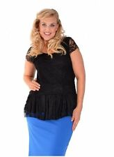 New Womens Lace Lined Black Peplum Blouse Evening Party Top Nouvelle Plus Size