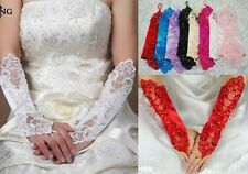 Bridal Prom Sexy Lace Flower Rhinestones Fingerless Gloves Wedding Party