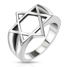 316L Stainless Steel Men's Star of David Wide Cast Ring Size 9-14