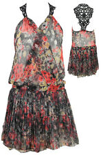 NEW WOMENS LADIES  CHIFFON CROCHET BACK FLORAL SEXY PARTY SKATER DRESS TOP SKIRT