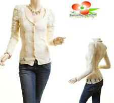Victorian Beige Floral Sheer Lace Gold Buttons Fitted Blouse Cardigan Shirt Top
