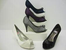 Ladies Anne Michelle Peep Toe Twisted Diamante 'L2214' Available in 5 Colours