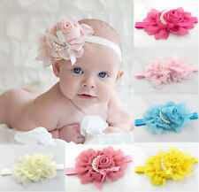 Girls Chiffon Pearl Headband Baby Rose Satin Bow Hairband Photoshoot Accessory