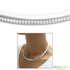 925 Sterling Silver Domed Omega Chain Necklace 6mm
