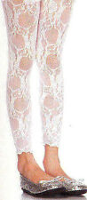 Leg Avenue 4850 Girls Footless Tights Stretch Lace Child Size Med Age 4-6 White