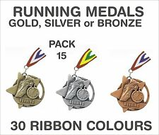PACK OF 15 (£1.30 each) Running Star Medals & Ribbon 60mm Metal Ref: SM4-MR1