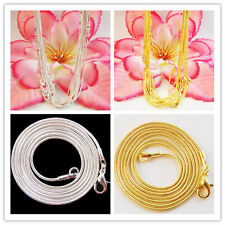 SL Wholesale ! New Plated-silver or Plated-gold snake chain necklace 10 pcs