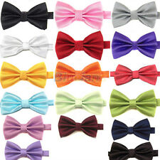 17 Colors New Mens Polyester Pure Plain Bowtie Pre Tied Wedding Bow Tie