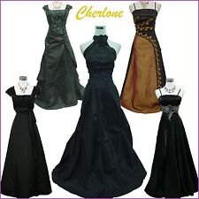 Cherlone Satin Black Ball Long Lace Bridesmaid Formal Wedding/Evening Gown Dress