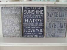 SHABBY METAL SAYING SIGNS REACH FOR THE STARS YOU ARE MY SUNSHINE BE HAPPY CHIC