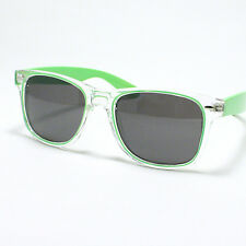 COLORED 80's Retro Old School Sunglasses Retro Green Yellow