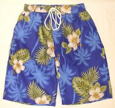 Mens Floral Print Summer Beach Swim Shorts Net Lined Blue M L XL 1st Class Post
