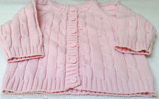 Rochdale Boutique Cable Knit Baby Cardigan Jacket 100% Pure Knitted Cotton Pink
