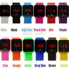 Unisex LED Colorful Digital Touch Screen Date Time Silicone Sport Wrist Watch