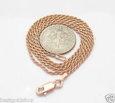 Technibond Diamond Cut Rope Chain Necklace 14K Pink Rose Gold Clad Silver Italy