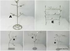 Silver Metal Jewellery Tree with Bird Jewellery Stand Display Organizer Holder