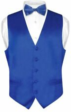 Biagio Men's SILK Dress Vest & Bow Tie Solid ROYAL BLUE Color BowTie Set