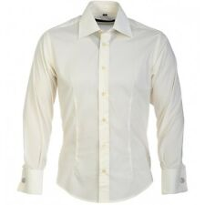 Guide Double Cuff Fitted Long Sleeve Formal Shirt-Cream