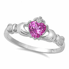 irish claddagh rose pink heart clear cz 925 silver ring size 4 5 6 7 8 9 10