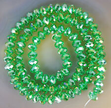 4x6mm Faceted Lime Rainbow AB Crystal Beads 50pcs