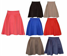 New Womens Ladies Skater Flared Jersey Plain Mini Party Dress Skirt 8-14