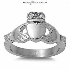silver irish claddagh cz stainless steel wedding band ring size 6 7 8 9 10 women