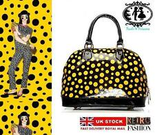 LADIES POLKA DOT PATENT HANDBAG DESIGNER STYLE TOTE SHOULDER BAG LUXURY SATCHEL