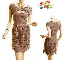 Women Mocha Retro Elegant Peep-A-Boo Victorian Floral Laced Cocktail Party Dress