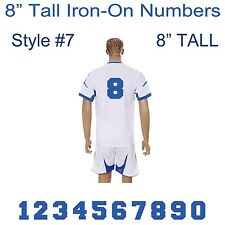 "8"" Tall Iron-On Number for Football Baseball Jersey Sports T-Shirt Style #7."