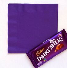 50 Plain/Personalised Wedding Cocktail Party Cadbury Purple Paper Serviettes