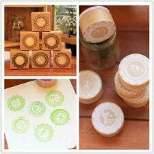 New 6 Model Creative Retro cute Lace pattern Round wooden Rubber stamp you pick