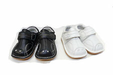 BRAND NEW BABY INFANT UNISEX LEATHER WALKING CASUAL SHOES BLACK WHITE SIZE 1-4