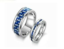 Bague Tungstène Bleu avec Fibre de Carbone/Tungsten  Ring with Carbon Fiber