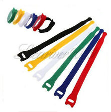 Bulk Color Velcro Wire Straps Wrap Reusable Hook Loop Fastening Cord 8 inch/20cm