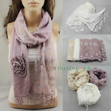 Vintage 3D Flower Embroidery Lace Floral Crochet Stitching Scarf Shawl Tassel