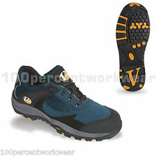 V12 Vtech Safety VS400 PITSTOP Work Trainers Shoes Blue Suede Toe Cap Metal Free