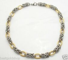 Bold Round Byzantine Chain Necklace Stainless Steel by Design QVC FREE SHIP