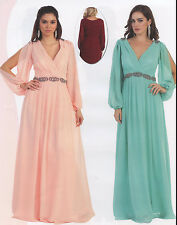 10 COLORS FORMAL OCCASION MOTHER OF BRIDE or GROOM CLASSY EVENING DRESS M - 5XL