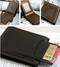 New Brown black Mens cow leather bifold wallet credit/ID card holder slim purse