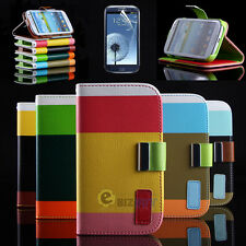 Hybrid PU Leather Wallet Flip Stand Case Cover for Samsung Galaxy S3 S III i9300